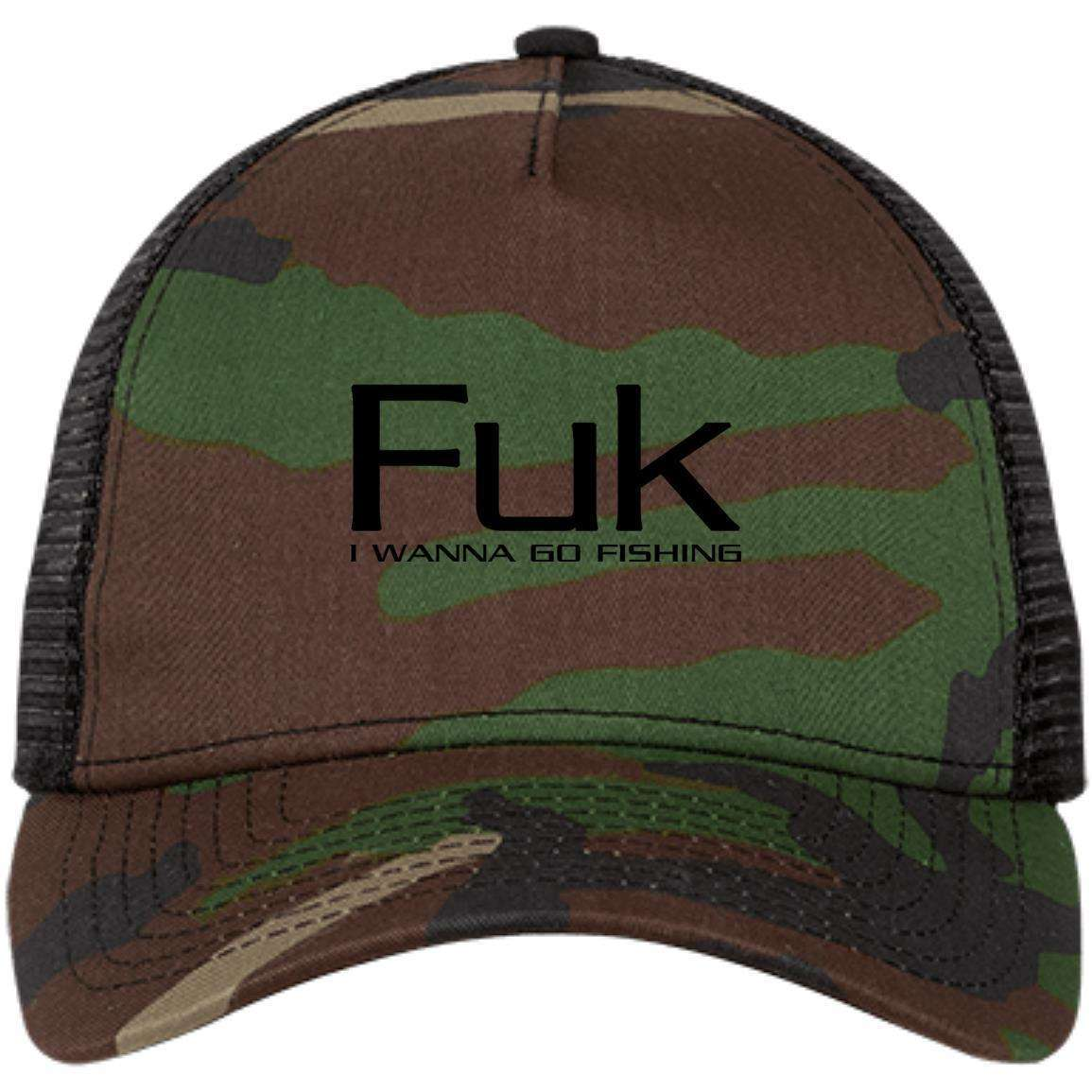 Fuk I Wanna Go Fishing Original Snapback Trucker Cap