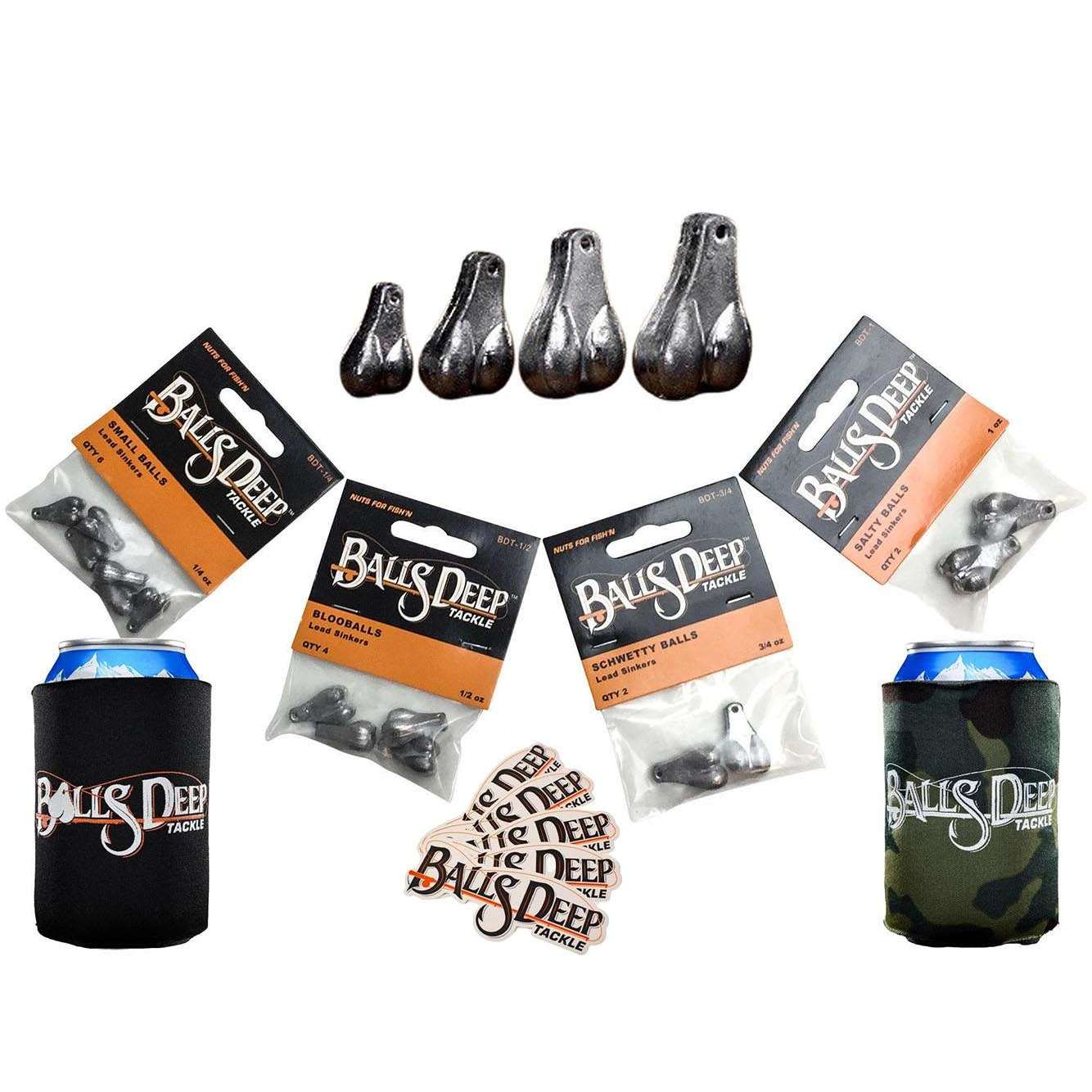 Sexy Six Pack - 6 Piece Fishing Sinker Pack (Includes 2 Koozies + 5 Stickers)