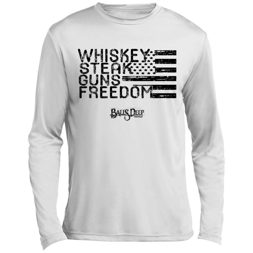 Whiskey, Steak, Guns, & Freedom (Black) Performance Long Sleeve