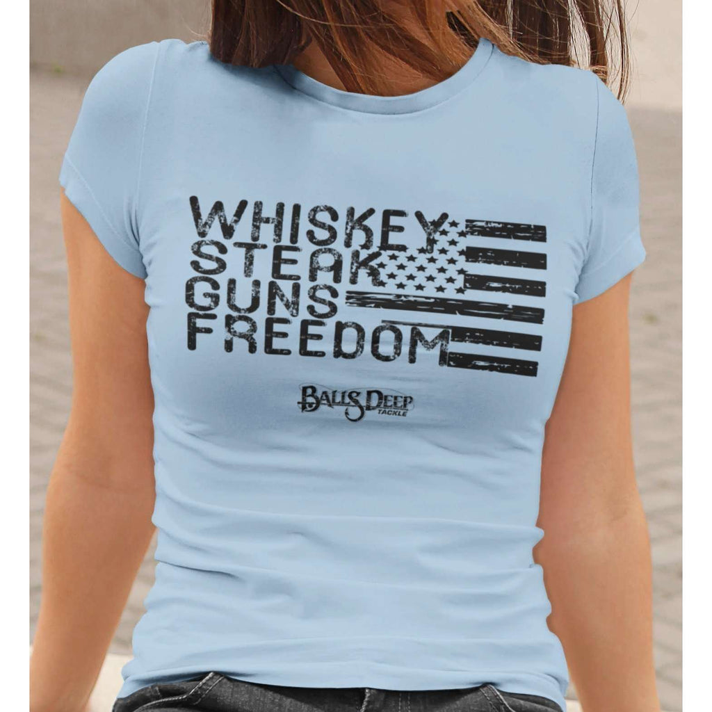 Whiskey, Steak, Guns, & Freedom (Black) Womens