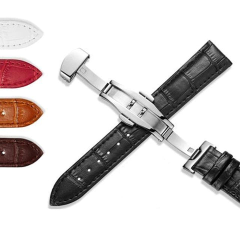 12mm 13mm 14mm 15mm 16mm 17mm 18mm 19mm 20mm 21mm 22mm 24mm White / Red / Brown / Black Leather Watch Strap with Deployant/Butterfly Clasp [7 Variations]