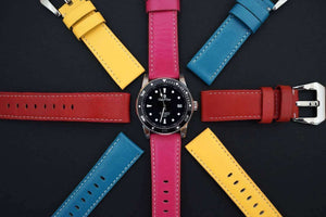 Coup De Coeur Watches with Yellow, Pink, Blue and Red Watch Straps