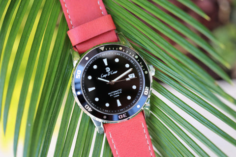SGC Classic Black Automatic Watch with Watermelon Red Leather Watch Strap