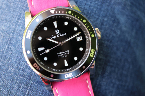 SGC Classic Black Automatic Watch with Cerise Pink Leather Watch Strap
