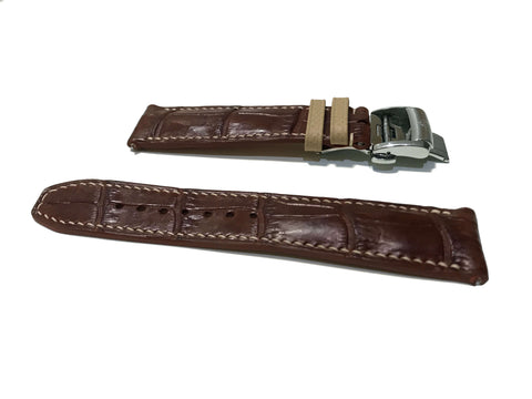 Photo : Dark Brown Alligator Leather With Cream Strap Holder