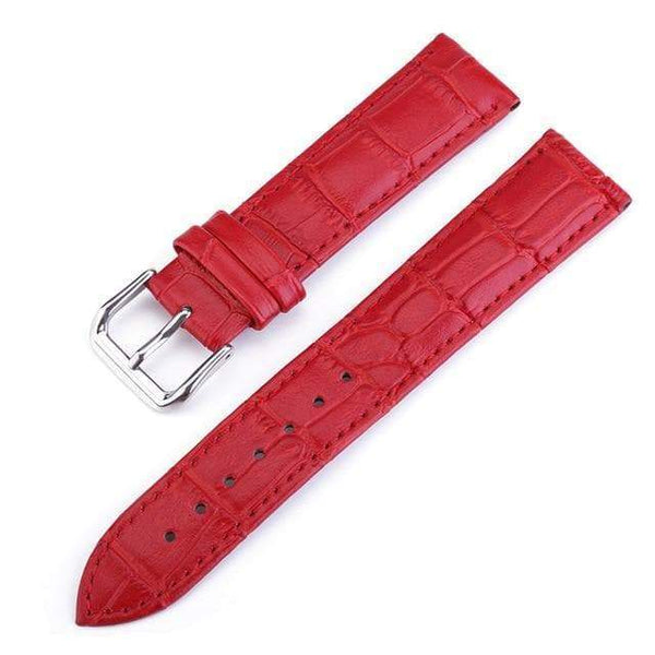 10mm 12mm 13mm 14mm 15mm 16mm 17mm 18mm 19mm 20mm 22mm 24mm White / Red / Pink / Blue / Purple / Green Leather Watch Strap [7 Variations]
