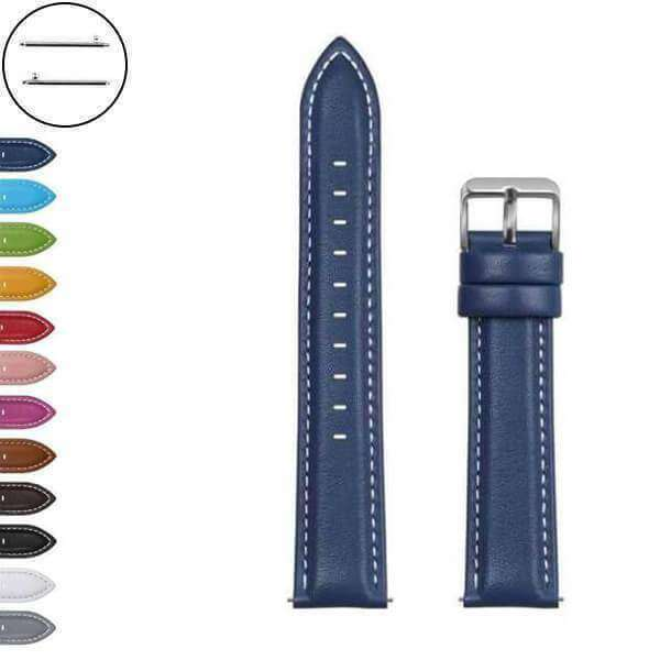 Dark Slate Blue 18mm 20mm 22mm 24mm White / Yellow / Red / Pink / Blue / Green / Brown / Grey / Black Leather Watch Strap with Quick Release Pin [W070]