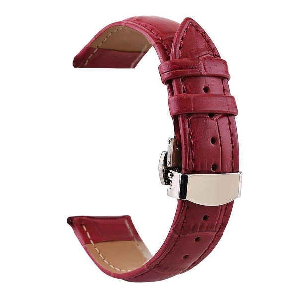 12mm 13mm 14mm 15mm 16mm 17mm 18mm 19mm 20mm White / Red / Pink / Blue / Dark Blue / Purple / Green Leather Watch Strap With Deployant Clasp [7 Variations]