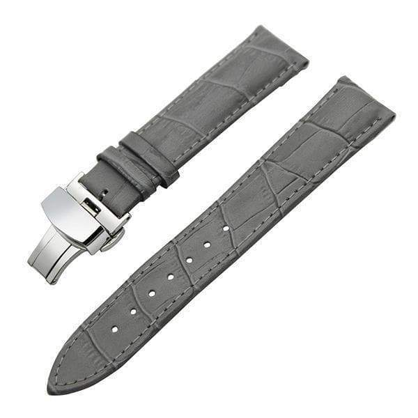 12mm 14mm 16mm 17mm 18mm White / Red / Pink / Purple / Blue / Pink / Brown / Grey / Black Leather Watch Strap With Deployant Clasp [11 Variations]