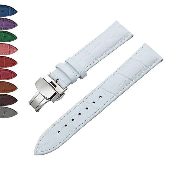 Lavender 12mm 14mm 16mm 17mm 18mm White / Red / Pink / Blue / Green / Purple / Brown / Grey / Black Leather Watch Strap with Deployant Clasp [W043]