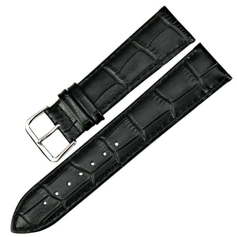 Dark Slate Gray 12mm 14mm 16mm 18mm 19mm 20mm 21mm 22mm Brown / Black Leather Watch Strap [W013]