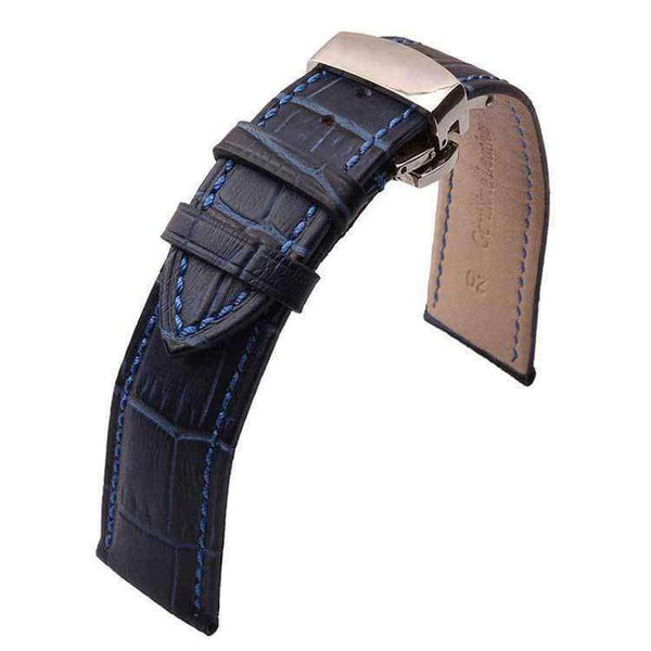 Black 12mm 14mm 16mm 18mm 20mm 22mm Blue Leather Watch Strap with Deployant Clasp [W046]
