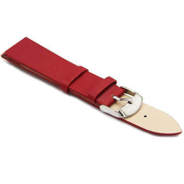 12mm 14mm 16mm 18mm 20mm 22mm White / Red / Pink / Blue / Purple / Brown / Black Leather Watch Strap [7 Variations]