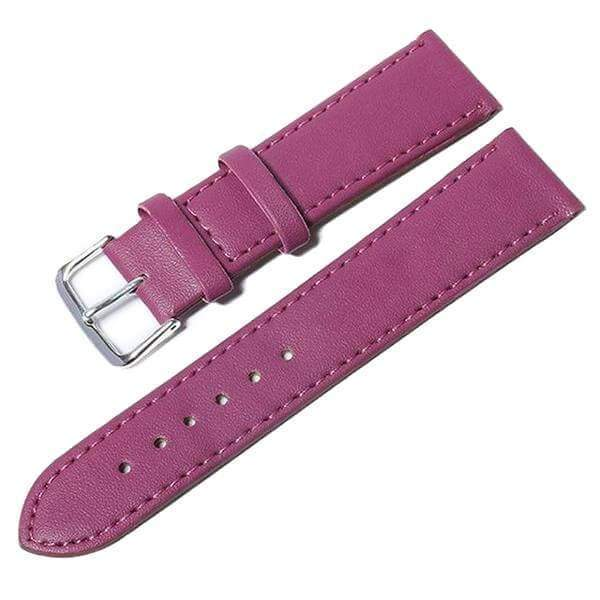 12mm 14mm 16mm 18mm 20mm White / Yellow / Orange / Red / Pink / Blue / Purple / Black Leather Watch Strap [10 Variations]