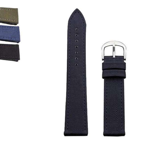 Dark Slate Gray 18mm 20mm 22mm 24mm Blue / Green / Black Hybrid Canvas and Leather Watch Strap [W021]