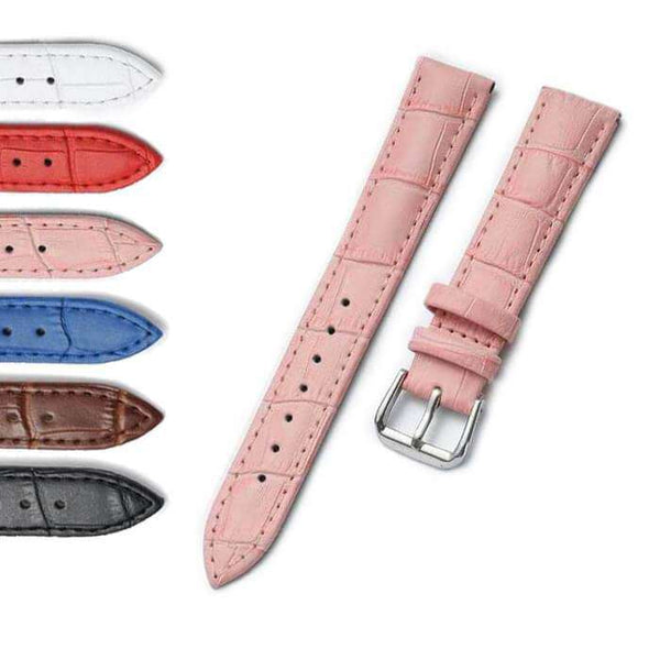 Light Pink 14mm 15mm 16mm 17mm 18mm 19mm 20mm 22mm White / Red / Pink / Blue / Brown / Black Leather Watch Strap [W061]