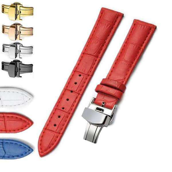 Maroon 12mm 14mm 16mm 17mm 18mm 19mm 20mm Red / White / Blue Leather Watch Strap with Deployant/Butterfly Clasp [W148]