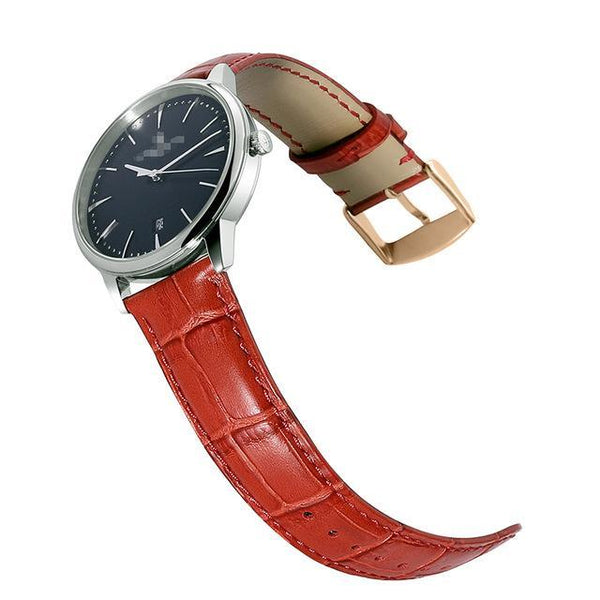14mm 16mm 18mm 19mm 20mm 21mm 22mm 24mm Leather Watch Strap With Rose Gold Buckle [10 Variations]