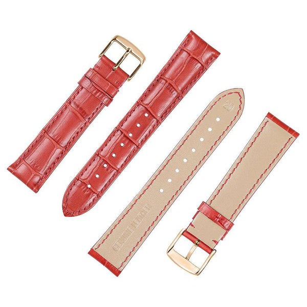 14mm 16mm 18mm 19mm 20mm 21mm 22mm 24mm Orange / Red / Blue / Beige / Brown / Black Leather Watch Strap With Rose Gold Buckle [10 Variations]