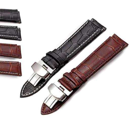 Dim Gray 16mm 18mm 19mm 20mm 21mm 22mm 24mm Brown / Black Leather Watch Strap with Foldable Clasp [W151]