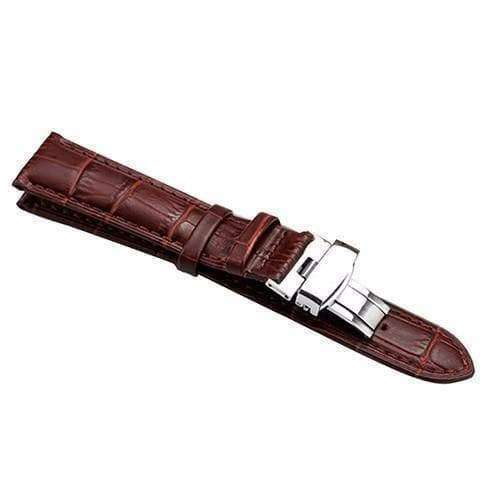 Saddle Brown 16mm 18mm 19mm 20mm 21mm 22mm 24mm Brown / Black Leather Watch Strap with Foldable Clasp [W151]
