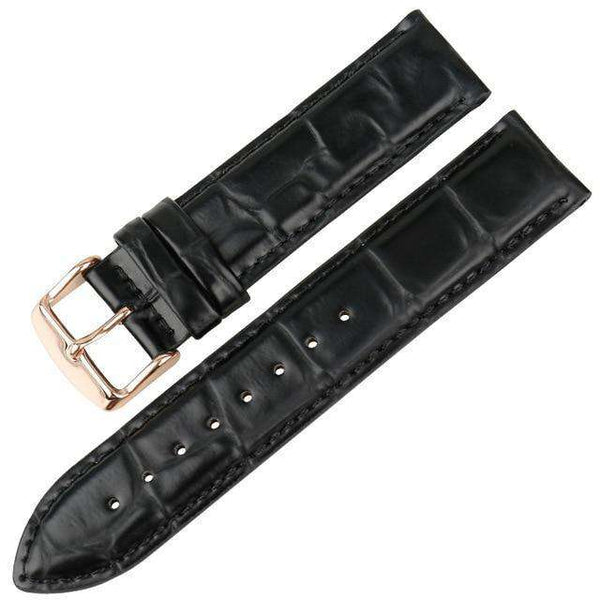17mm 18mm 19mm 20mm White / Red / Blue / Brown / Black Leather Watch Straps With Silver / Rose Gold Buckle [16 Variations]