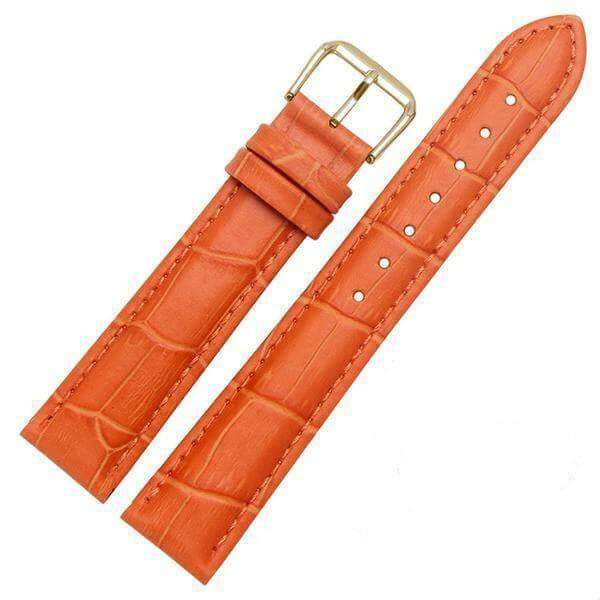 Chocolate 18mm 19mm 20mm 21mm 22mm 23mm 24mm Yellow / Orange / Red / Pink / Purple / Green / Brown / Black Leather Watch Strap with Quick Release Pin [W058]