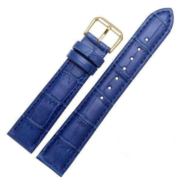 Midnight Blue 18mm 19mm 20mm 21mm 22mm 23mm 24mm Yellow / Orange / Red / Pink / Purple / Green / Brown / Black Leather Watch Strap with Quick Release Pin [W058]