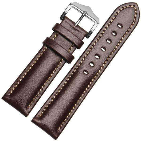 18mm 20mm 21mm 22mm Orange / Red / Blue / Green / Brown / Black Leather Watch Strap [6 Variations]