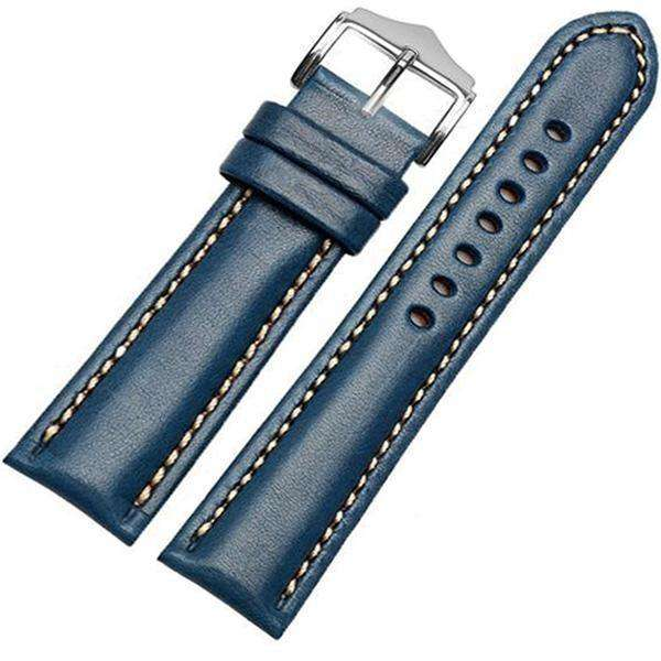 Slate Gray 18mm 20mm 21mm 22mm Orange / Red / Blue / Green / Brown / Black Leather Watch Strap [W016]