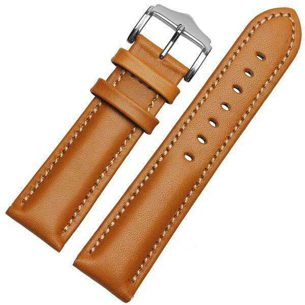 Snow 18mm 20mm 21mm 22mm Orange / Red / Blue / Green / Brown / Black Leather Watch Strap [W016]