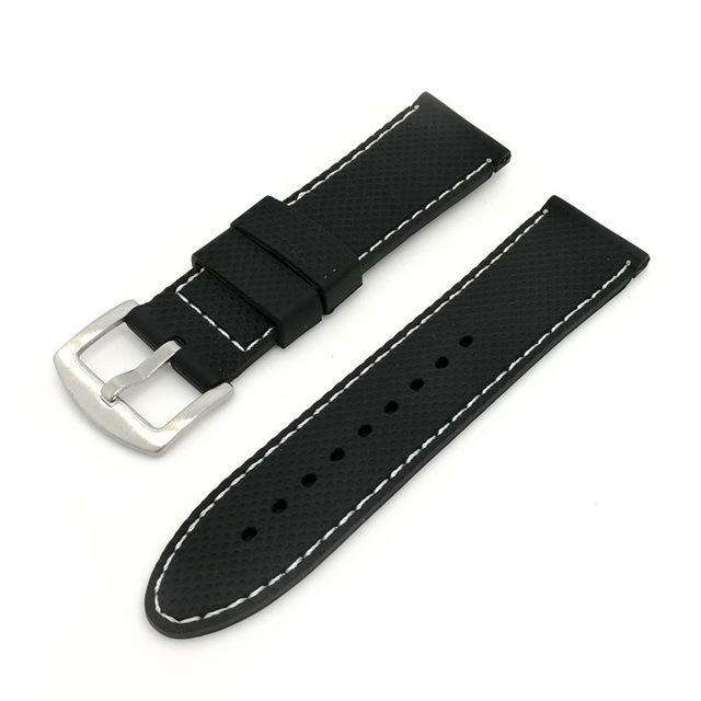 18mm 20mm 22mm 24mm Black Rubber Watch Strap With White / Red Threads [2 Variations]