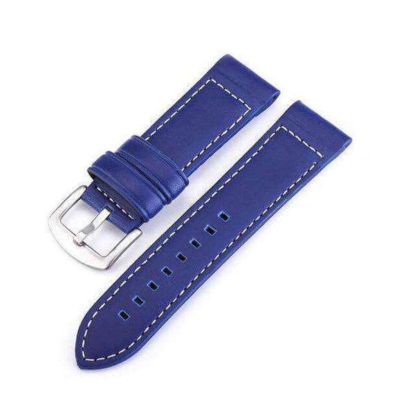 18mm 20mm 22mm 24mm Blue / Brown / Black Leather Watch Strap [4 Variations]