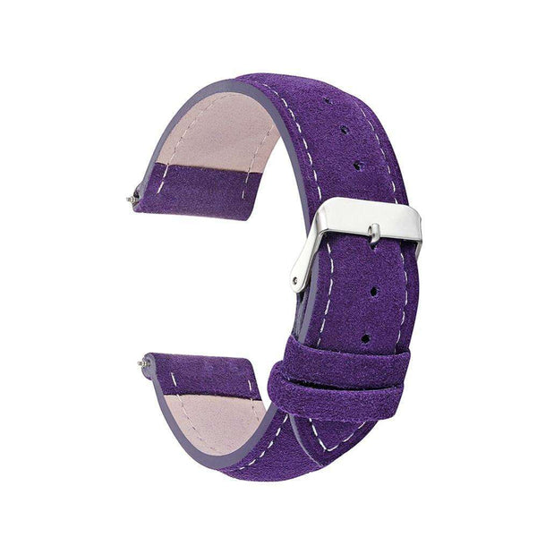 18mm 20mm 22mm 24mm Pink / Blue / Purple / Green / Brown / Grey Suede Leather Watch Strap [8 Variations]