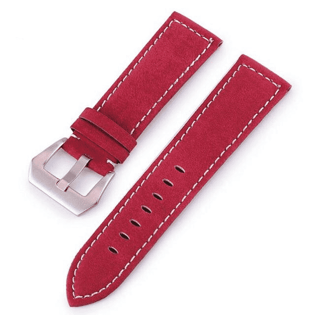 18mm 20mm 22mm 24mm Red / Blue / Green / Brown / Black Leather Watch Strap [5 Variations]
