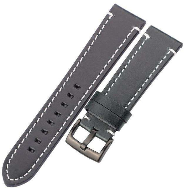 18mm 20mm 22mm 24mm Red / Blue / Green / Brown / Black Leather Watch Strap With Silver / Black Buckle [3 Variations]