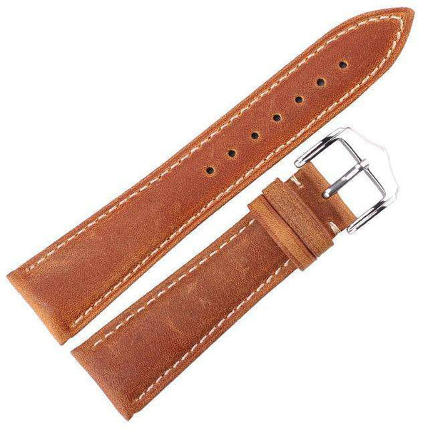 18mm 20mm 22mm 24mm Red / Green / Tan / Brown Leather Watch Strap [4 Variations]