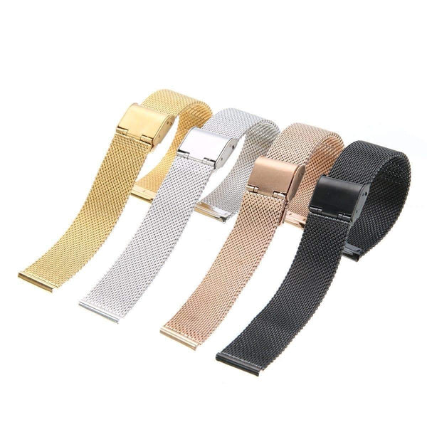 18mm 20mm 22mm 24mm Silver / Gold / Rose Gold / Black Stainless Steel Mesh Watch Strap [4 Variations]