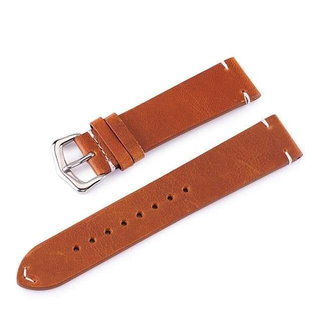 18mm 20mm 22mm 24mm Yellow / Brown / Black Leather Watch Strap [3 Variations]