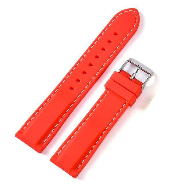 18mm 20mm 22mm 24mm Yellow / Orange / Red / Pink / Blue / Black Rubber Watch Strap [8 Variations]