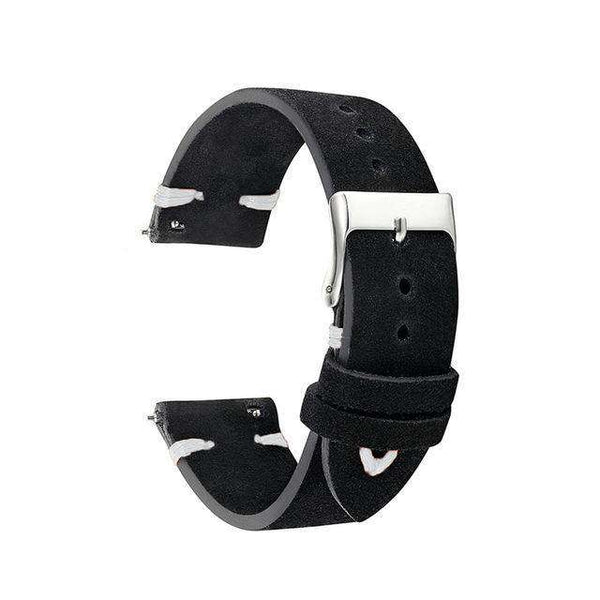18mm 20mm 22mm Black Cowhide Suede Leather Watch Strap With Quick Release Pin [5 Variations]