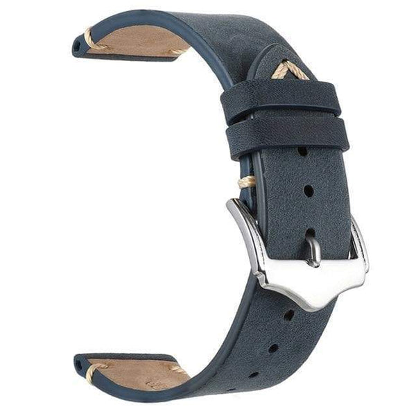 18mm 20mm 22mm Red / Blue / Green / Brown / Grey / Black Leather Watch Strap [7 Variations]