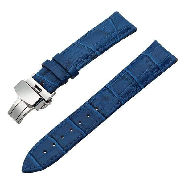 19mm 20mm 21mm 22mm 23mm 24mm White / Red / Pink / Purple / Blue / Pink / Brown / Grey / Black Leather Watch Strap With Deployant Clasp [11 Variations]