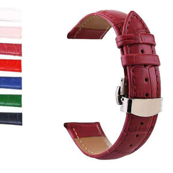 Saddle Brown 12mm 13mm 14mm 15mm 16mm 17mm 18mm 19mm 20mm White / Red / Pink / Blue / Dark Blue / Purple / Green Leather Watch Strap with Deployant Clasp [W147]