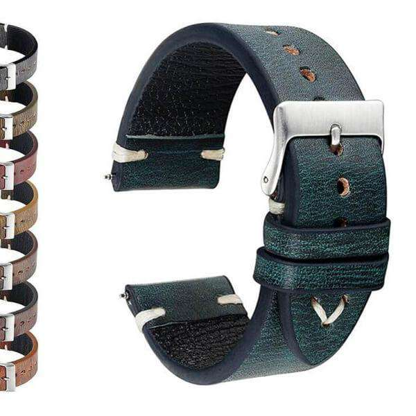 Dark Slate Gray 18mm 20mm 22mm 24mm Yellow / Orange / Red / Green / Brown / Black Cowhide Suede Leather Watch Strap [W142]