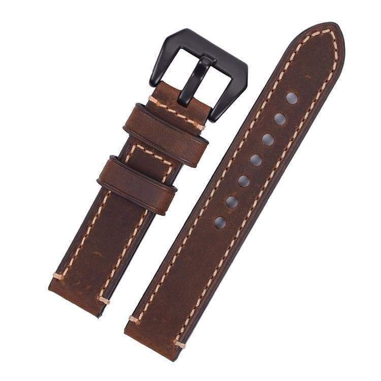20mm 22mm 24mm 26mm Green / Tan / Brown / Grey / Black Leather Watch Strap With Black Buckle [5 Variations]