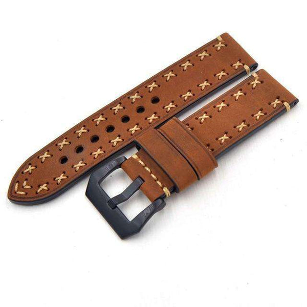20mm 22mm 24mm 26mm Orange / Green / Brown / Grey / Black Leather Watch Strap With Black Buckle [5 Variations]