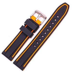 20mm 22mm 24mm 26mm Orange / Red / Blue / Grey Rubber Watch Strap [4 Variations]