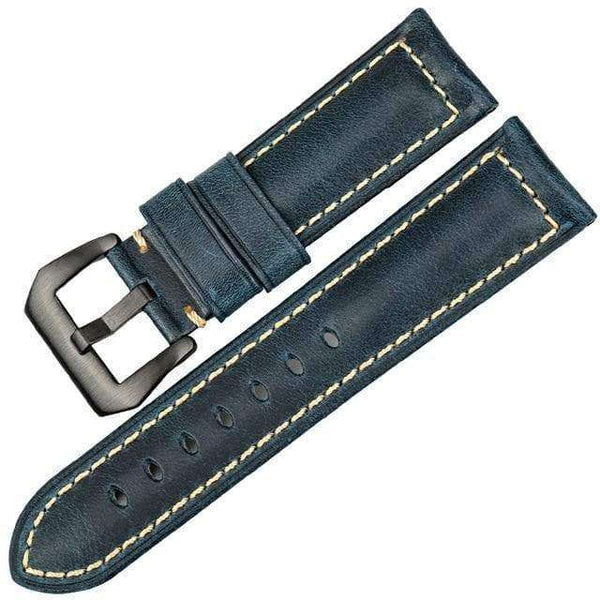 20mm 22mm 24mm 26mm Red / Blue / Green / Brown / Black Leather Watch Strap With Silver / Black Buckle [6 Variations]