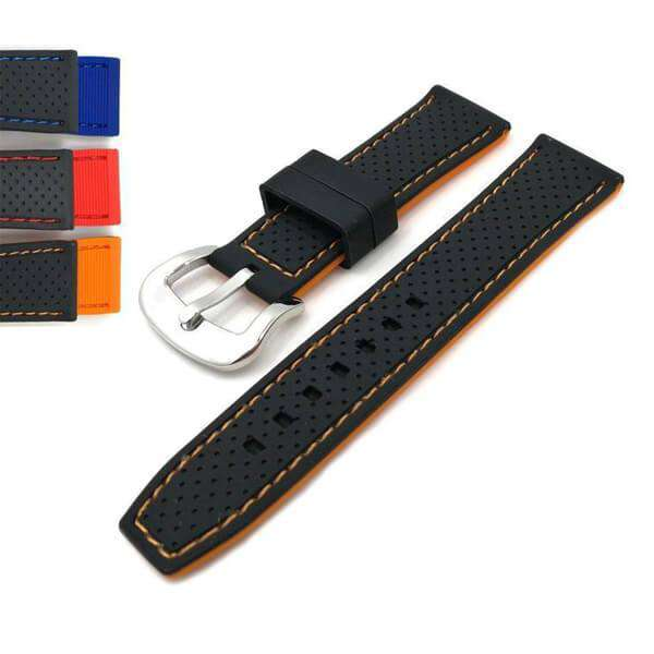 Dark Slate Gray 20mm 22mm 24mm Black Rubber Watch Strap with Orange / Red / Blue Threads [W125]
